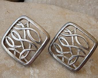 Square post earrings. Silver stud earrings. Ornamented square earrings. Geometric stud earrings. Modern earrings. Geometric jewelry gift