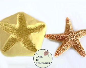 """Silicone 3"""" starfish Mold for cake decorating, polymer clay shell mold, resin or soap seashell mold, fondant starfish mold M1034"""