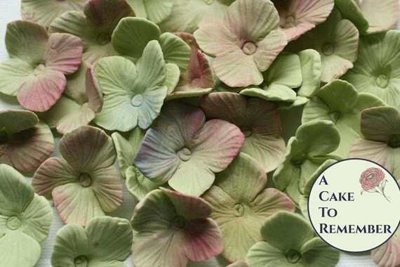 25 gumpaste edible flowers hydrangeas for cake decorating, sugar flowers- wedding cake flowers, wedding cake toppers, unwired sugar flowers
