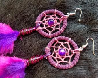 Medium Dream Catcher Earrings - Pink and Purple