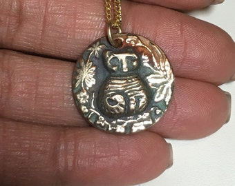 Bronze cat necklace, cat pendant, gold jewelry, feline necklace, cat lover jewelry