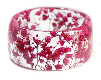 Pink Flower Bracelet -Jewelry with Real Flowers- Dried Flowers- Pink Bracelet - Pink Dried Flowers- Pink Bracelet- Resin Jewelry