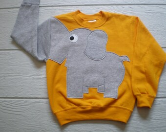 Childrens Elephant Trunk sleeve sweatshirt,  sweater, elephant jumper, KIDS small, medium, large and Xlarge, Special Deal, gold yellow