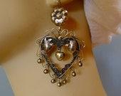 "Mexican Silver Large Heart earrings Oaxaca dangle Love Birds filagree floral boho Frida Kahlo drop 3"""