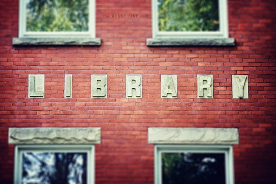 Library Print or Canvas Wrap, Vintage Library, Books Reader Teacher Gift, Red Brick Library, Gift for Teacher, Office Decor, Rustic Decor.