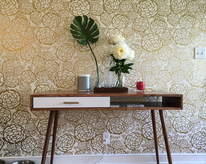 Featured listing image: Mid Century Desk with Drawer Solid Wood - MADE TO ORDER