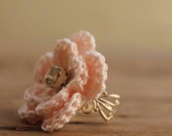 Crochet Ring - Pink Powder flower crocheted ring - Delicate Flower Ring - Jewellry crocheted