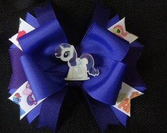 My Little Pony inspired bow, Rarity 5 inch hairbow