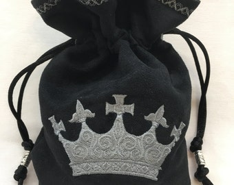 IRON CROWN - Faux Suede Embroidered Dice Bag, Rune Bag, Tarot Cards, LARP