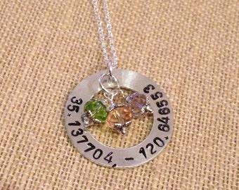Hand stamped pendant keepsake, coordinate pendant, name pendant mom pendant affirmation pendant