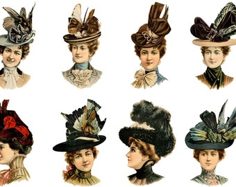 "Large Stickers (each sticker 2.5""x3.5"", pack 8 stickers) Scrapbooking Craft Vintage # Ladies in Sunday Best Hats FLONZ 352"