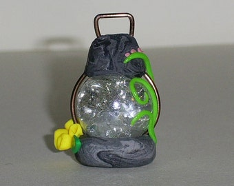 Miniature Fairy\Pixie  Garden Lantern with yellow and pink flowers