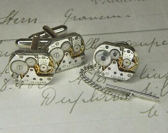 Steampunk Cufflinks Cuff Links - TORCH SOLDERED - Vintage Silver Rounded Rectangular Watch Movements - Anniversary Birthday Gift