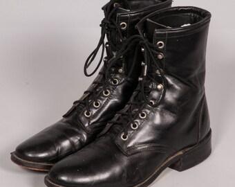 LAREDO Black Lacer Boots Men's Size 8 .5 M