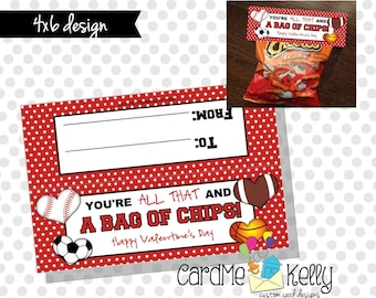 INSTANT DOWNLOAD Printable All that and a bag of chips Sports Boys Labels Toppers Valentines Day Cards