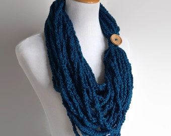 Oversized Blue Scarf, Blue Chain Scarf, Chunky Scarf, Chunky Infinity Scarf, Circle Scarf, Chunky Women's Scarf