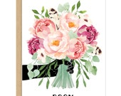 Peony Bouquet Floral Card