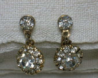 1940s Clear Rhinestone Earrings: Screw On, Swing Era Sparkle! Diamante