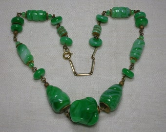 Neiger Brothers Art Deco Necklace, Jade Green Glass. 1920s 1930s. Czech. Chunky, Statement