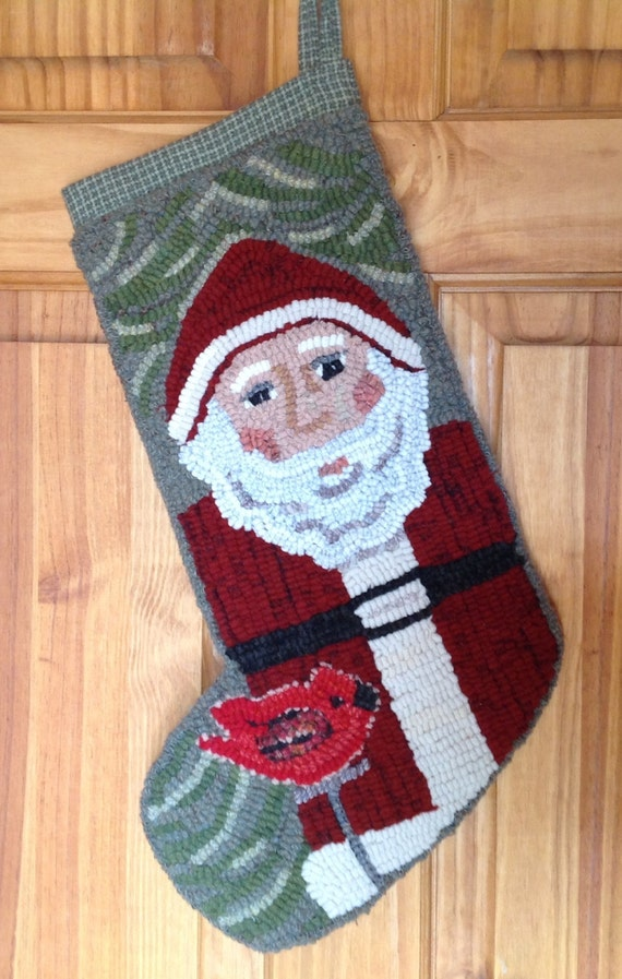 Rug Hooking PATTERN, Saint Nick Stocking, P110, Christmas, Holiday