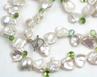Keshi Pearls with green drops