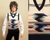 vintage 70s sweater vest men menswear southwest native 1970 vintage stripe arrow pattern Montgomery Ward small S