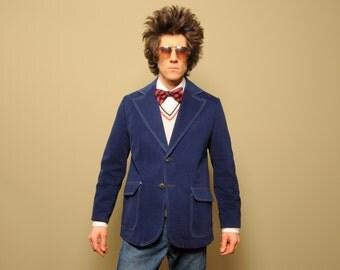 mens vintage denim blazer vintage 70s sport coat brushed cotton 1970 jean blazer 40 40R wash and wear 70s sport jacket