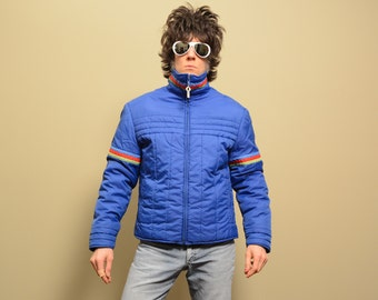 vintage 70s ski jacket puffer jacket rainbow stripe 1970s Ossi Ski Wear winter parka red green blue ski jacket large L XL