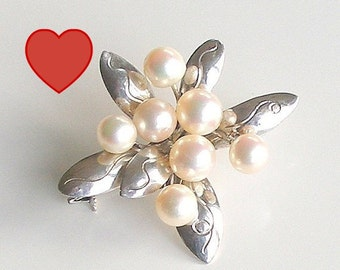 ON SALE Vintage Sterling Silver Pearl Brooch Cultured Pearl Flower Pin 1950s Fine Jewelry