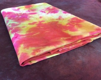Hand Dyed Chartreuse, Cherry Blush and Fuchsia 100% Cotton Fabric - 1 Yard