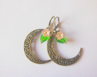 Bronze Colour Crescent Moon Earrings With Czech Flower And Leaf