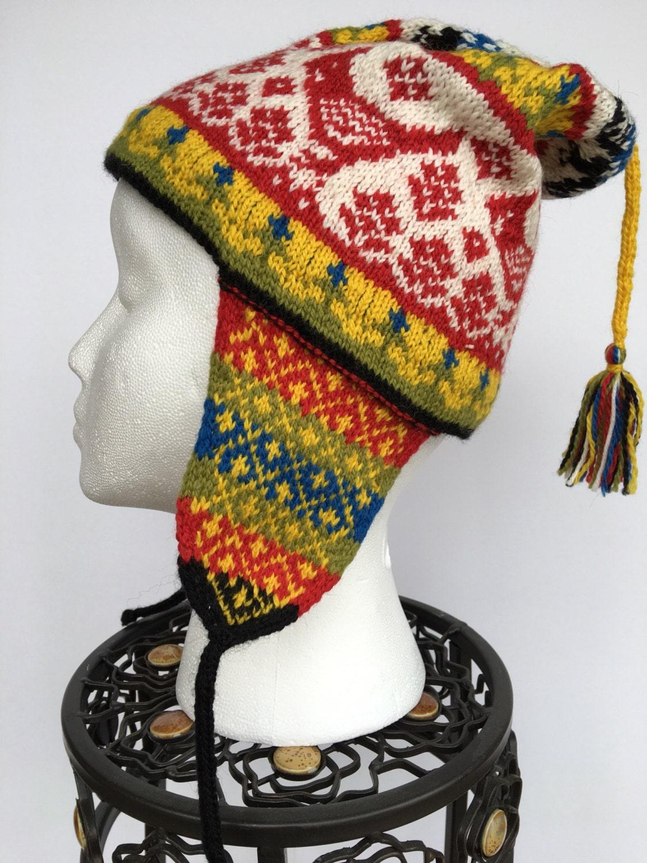 Knitting Pattern Peruvian Hat : Peruvian wool Chullo Hat