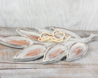 Shabby chic wood jewelry tray, divided tray, hand painted and distressed