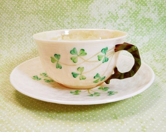 Shamrock Basket Weave Belleek Cup & Saucer 5th Mark Green Reg. No 0857