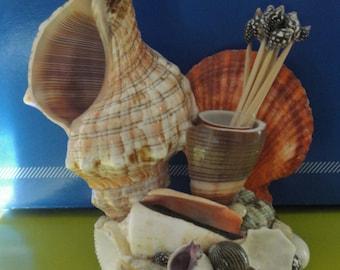 Sea Shell Fox Seashell Tothpick Holder Arrangement Figurine