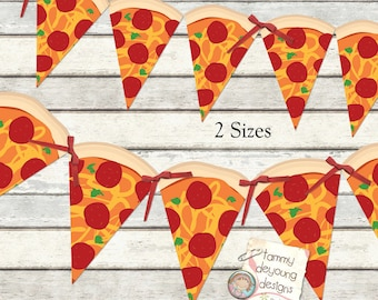 Pizza Party Banner Garland Printable  *Pizza Party Bunting* DIY Digital for ninja turtle parties, birthday decor, pizza party decorations