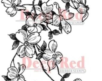 Deep Red Rubber Cling Stamp Cherry Blossom Garden Botanical Flower
