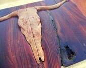 Cowboy Rustic Gift Box Hand Tooled Steer Skull Wood Hinges