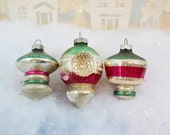 Vintage Christmas Ornaments Shiny Brite UFO Lantern Top Double Indent Red Green Silver Striped Set of 3 Three 1950's