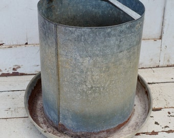 Vintage Galvanized Metal Chicken Feeder Waterer Rustic Primitive Farm Ranch Garden Hanging Planter Repurpose Upcycle