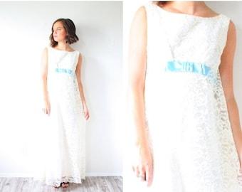 20% OFF HALLOWEEN SALE Vintage Wedding dress // boho wedding dress // Blue ribbon lace style bohemian maxi off white cream dress // cape mod