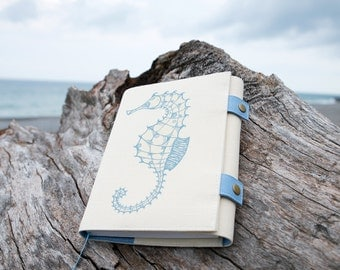 Seahorse (Large), Journal, Notebook, Sketchbook, Softcover, Cotton, Personal agenda, Travel Journal, Diary, Calendar, Unique gift, Artistic