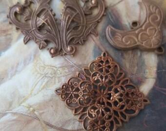 3 RARE Very OLD Vintage Brass & Intricate FILIGREE Pieces