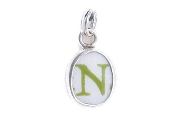 """Broken China Jewelry Letter """"N"""" Sterling Charm"""