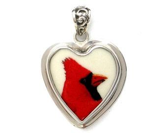 Broken China Jewelry Cardinal Red Bird Profile Sterling Heart Pendant
