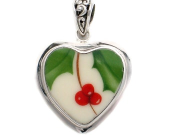 Broken China Jewelry Holly Holiday Sterling Pendant