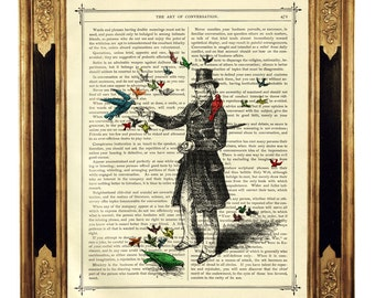 Gentleman feeding Birds Top Hat - Vintage Victorian Book Page Art Print Steampunk