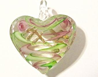 Green Heart Murano Glass Lampwork Bead Pendant