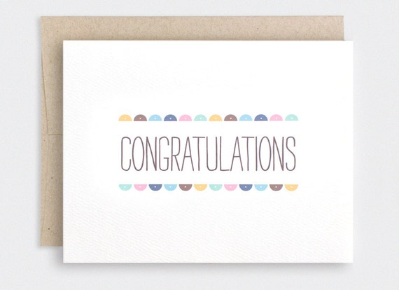 Graduation Card - Recycled Card - Semi Circles - Wedding, Pregnancy, New Baby, Congratulations Card, Engagement Card