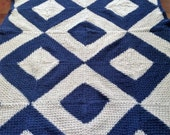 Ready-Made Knit Afghan---------------- DIAMOND BLOCK pattern in white and blue